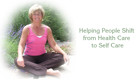 Susan in lotus position. Text says Helping people shift from health care to self care.